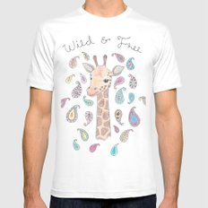 Wild and Free White Mens Fitted Tee SMALL