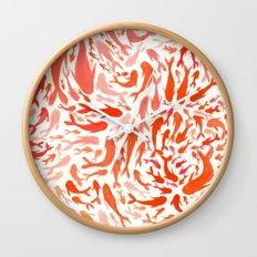 Koi - Coral & White Wall Clock