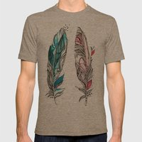 You & Me Feathers Mens Fitted Tee Tri-Coffee SMALL