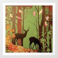 Deer In Forest Art Print