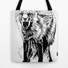 Angry Fox (b&w) Tote Bag