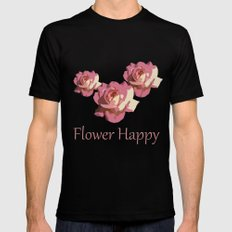 Pretty pink rose garden flower. Floral nature photography.   SMALL Black Mens Fitted Tee