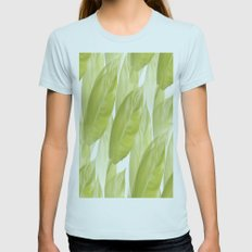 Green leaves Womens Fitted Tee Light Blue SMALL