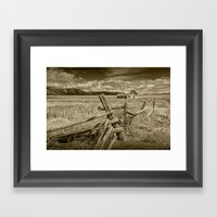 Sepia Tone Of Farm On Mo… Framed Art Print