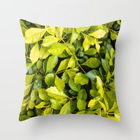 Too Much Green Leaves Throw Pillow