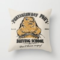 Punxsutawney Phil's Driv… Throw Pillow