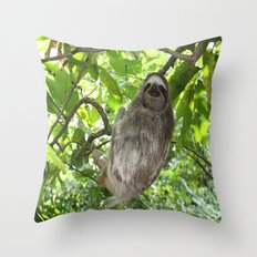 Sloths in Nature Throw Pillow