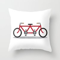 Broken Teamwork Tandem Bicycle Throw Pillow