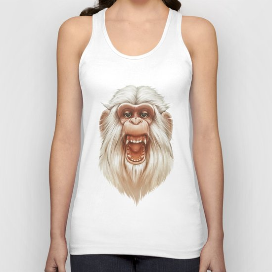 The White Angry Monkey Unisex Tank Top