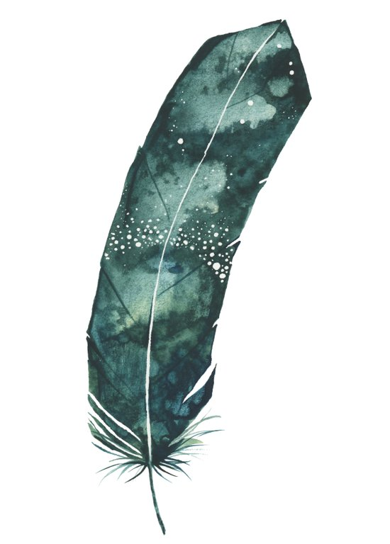 Galaxy Feather Art Print