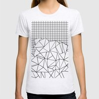 Abstract Grid #2 Black O… Womens Fitted Tee Ash Grey SMALL