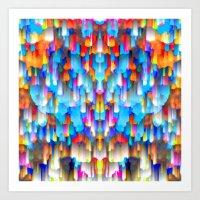 Colorful digital art splashing G397 Art Print