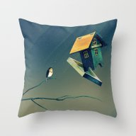 Flying Bird...house Throw Pillow