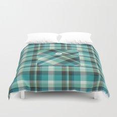 Plaid Pocket - Teal Blue/Green Duvet Cover