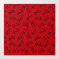 Red Bicycle Pattern Canvas Print