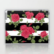The floral pattern. Red roses with horizontal stripes black white. Laptop & iPad Skin