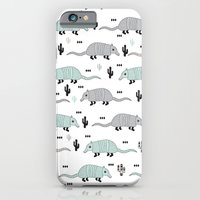 Cool western cactus desert Armadillo Animals illustration pattern iPhone 6 Slim Case