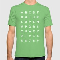 Letter Love - Black Mens Fitted Tee Grass SMALL