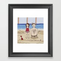 Embroidered Father And D… Framed Art Print