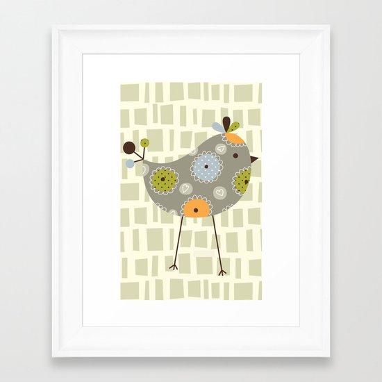 Grey Tweetie Bird Framed Art Print