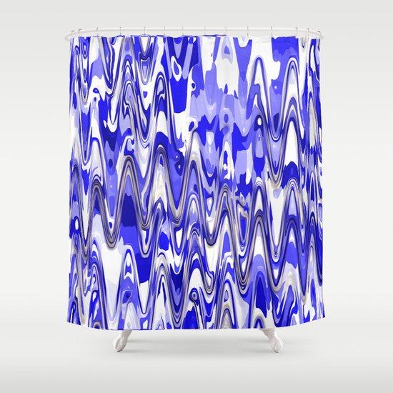 Funky Blue Chevron Shower Curtain