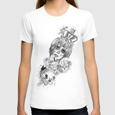 Sugar Skull Queen Womens Fitted Tee White SMALL