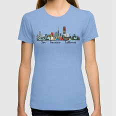 San Francisco Skyline Co… Womens Fitted Tee Tri-Blue SMALL