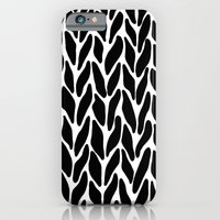 iPhone & iPod Case featuring Hand Knitted Black on White by Project M