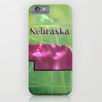 iPhone Cases featuring Nebraska Map by Roger Wedegis