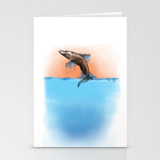 Breaching Whale Stationery Card