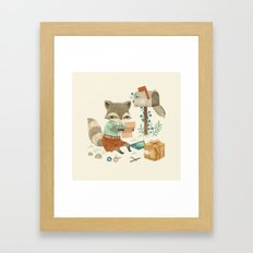 Raccoon Post Framed Art Print