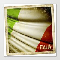 Grunge sticker of Italy flag Canvas Print