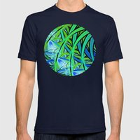 Jungle Waterfall Mens Fitted Tee Navy SMALL