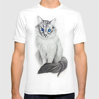 Ojos Azul Mens Fitted Tee White SMALL