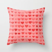 Pink Valentines Love Hea… Throw Pillow