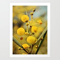 Yellow Puffballs Art Print