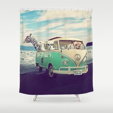 NEVER STOP EXPLORING THE BEACH Shower Curtain