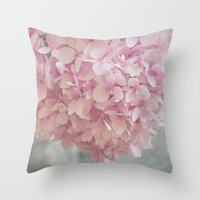 Delicate, pastel pink hydrangea flower Throw Pillow