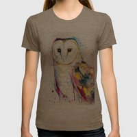 Barn Owl Womens Fitted Tee Tri-Coffee SMALL