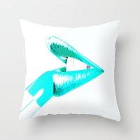 CYAN LIPS Throw Pillow