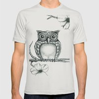 Fictional Owl Mens Fitted Tee Silver SMALL