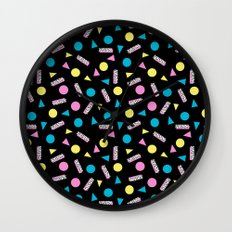 Max Out - abstract memphis minimal colorful neon bright happy shapes geometric 1980s 80s retro  Wall Clock