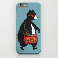 iPhone & iPod Case featuring Boombox bear (blue) by Budi Kwan