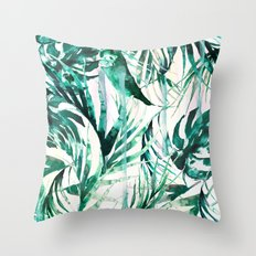 Green Tropical paradise  Throw Pillow
