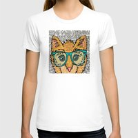 Orange Kitty Cat Womens Fitted Tee White SMALL