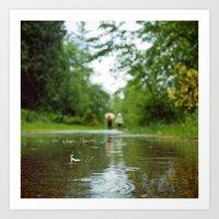 Rainy day walk Art Print