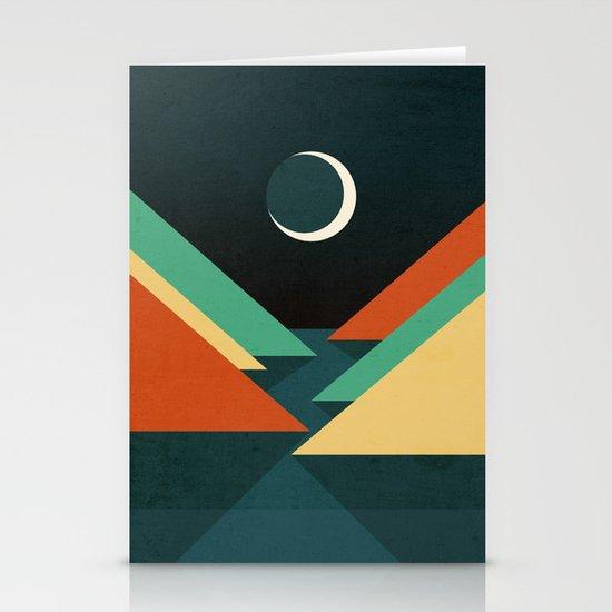 Quiet stream under crescent moon Stationery Card