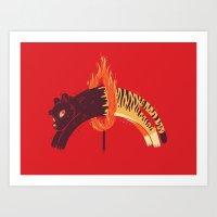 Pouncing Through Fire Art Print