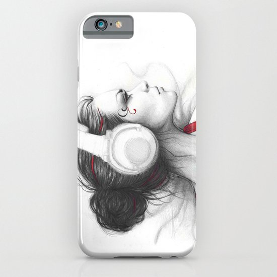 MUSIC - pencil portrait girl in headphones iPhone & iPod Case