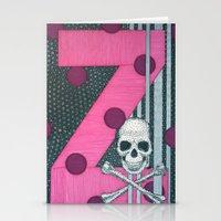 Pink Skull. Letter Z Stationery Cards